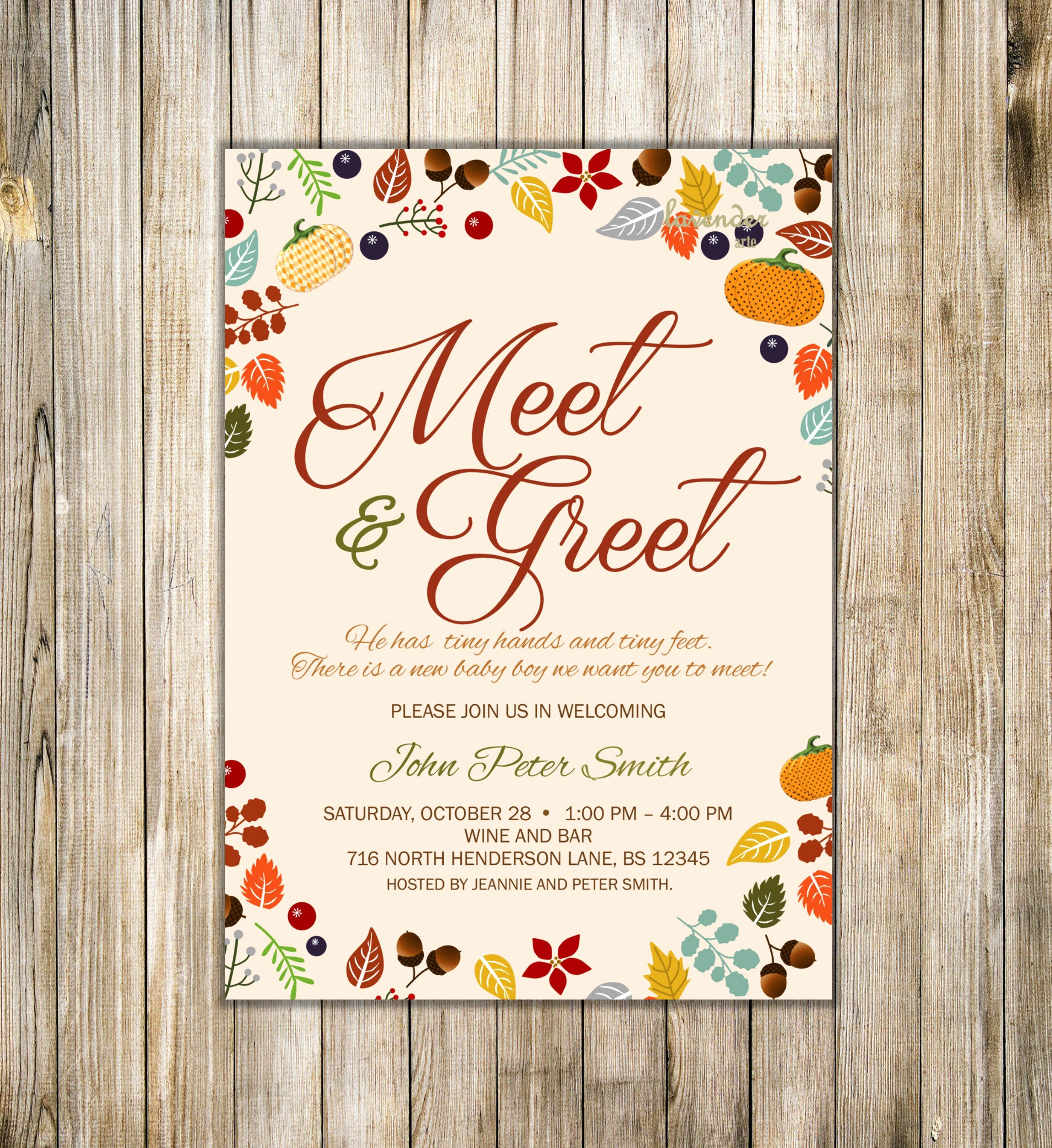 Meet and Greet Invitation Templates Awesome Fall Meet and Greet Invitation Fall Meet the Baby Invite Sip
