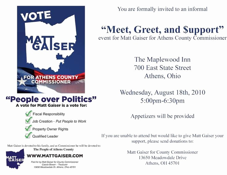 Meet and Greet Invitation Templates Beautiful Political Fundraiser Invitations