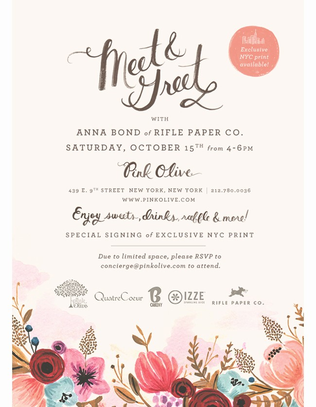 Meet and Greet Invitation Templates Best Of Rifle Paper Co Rifle Blog Meet N Greet In Nyc