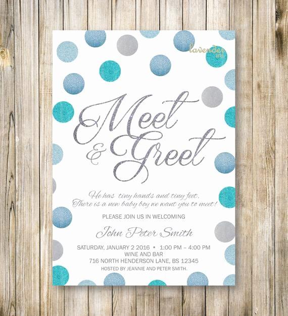 Meet and Greet Invitation Templates Elegant Meet and Greet Invitation Silver Blue Glitters Meet the Baby