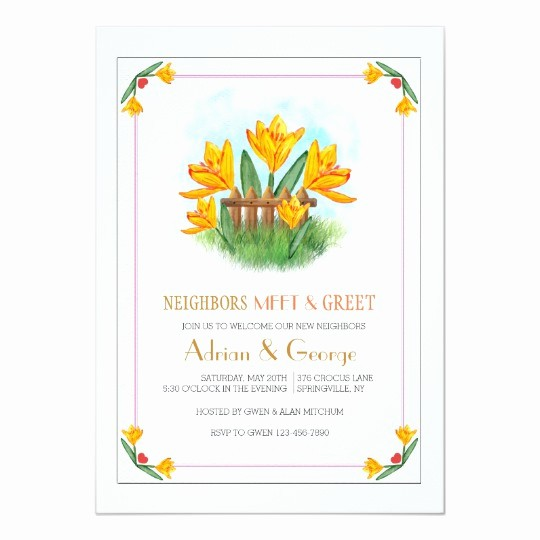 Meet and Greet Invitation Templates Elegant Yellow Crocus Meet and Greet Invitation