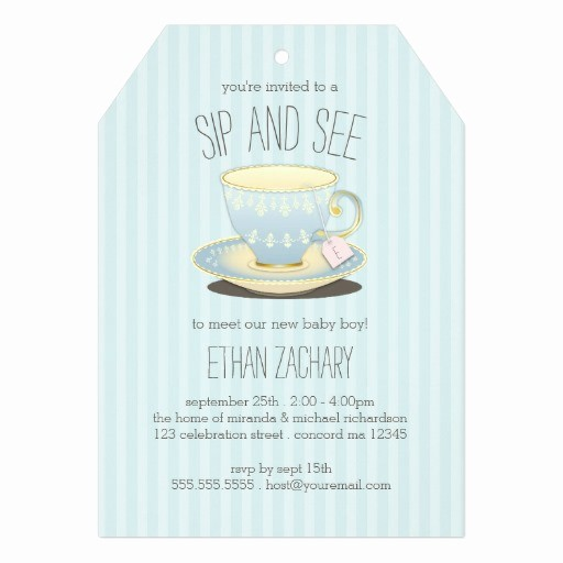 Meet and Greet Invitation Templates Inspirational Sip and See Teacup In Blue Baby Boy Meet & Greet