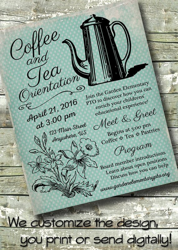 Meet and Greet Invitation Templates Unique Vintage Meet & Greet Coffee Pto Meeting Pta Meeting 5x7