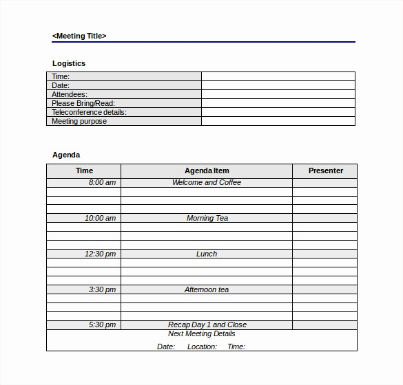 Meeting Agenda Template Word Free Awesome 50 Meeting Agenda Templates Pdf Doc