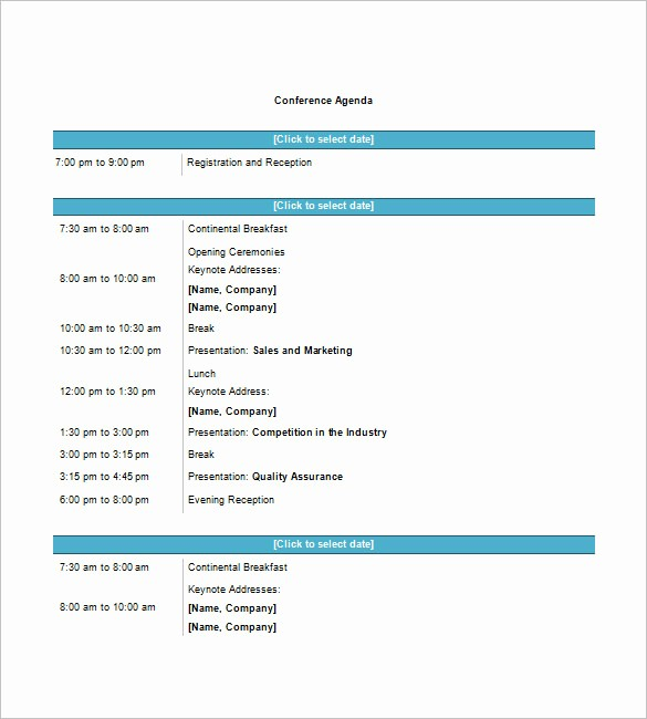 Meeting Agenda Template Word Free Awesome 8 Conference Agenda Templates – Free Sample Example