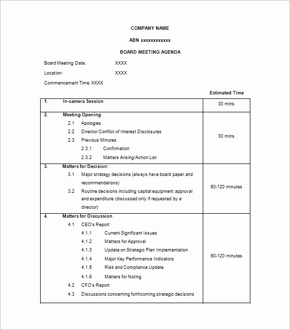 Meeting Agenda Template Word Free Beautiful Agenda Template – 24 Free Word Excel Pdf Documents