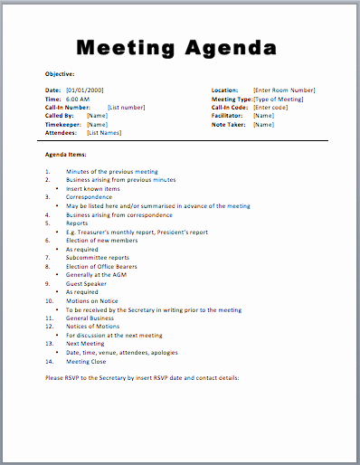 Meeting Agenda Template Word Free Elegant 20 Meeting Agenda Templates Word Excel Pdf formats