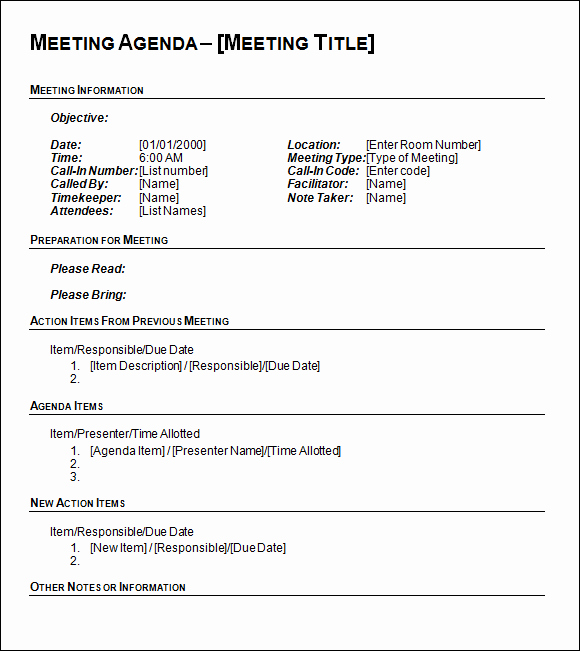 Meeting Agenda Template Word Free Luxury Agenda Template