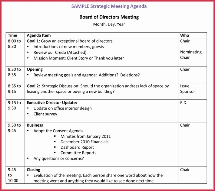 Meeting Agenda Template Word Free Luxury Board Meeting Agenda Template 10 Free Samples formats