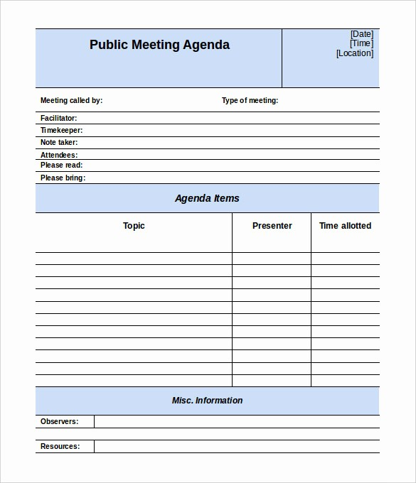 Meeting Agenda with Notes Template Awesome 50 Meeting Agenda Templates Pdf Doc