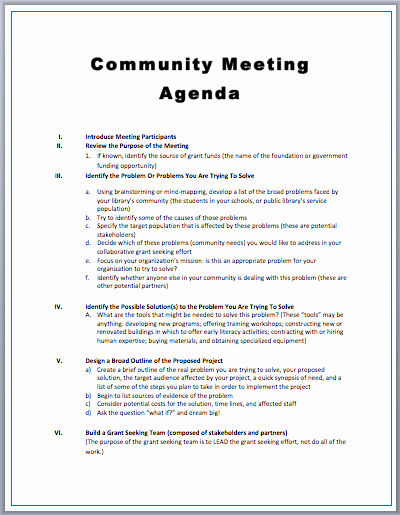 Meeting Agenda with Notes Template Awesome Munity Meeting Agenda Template