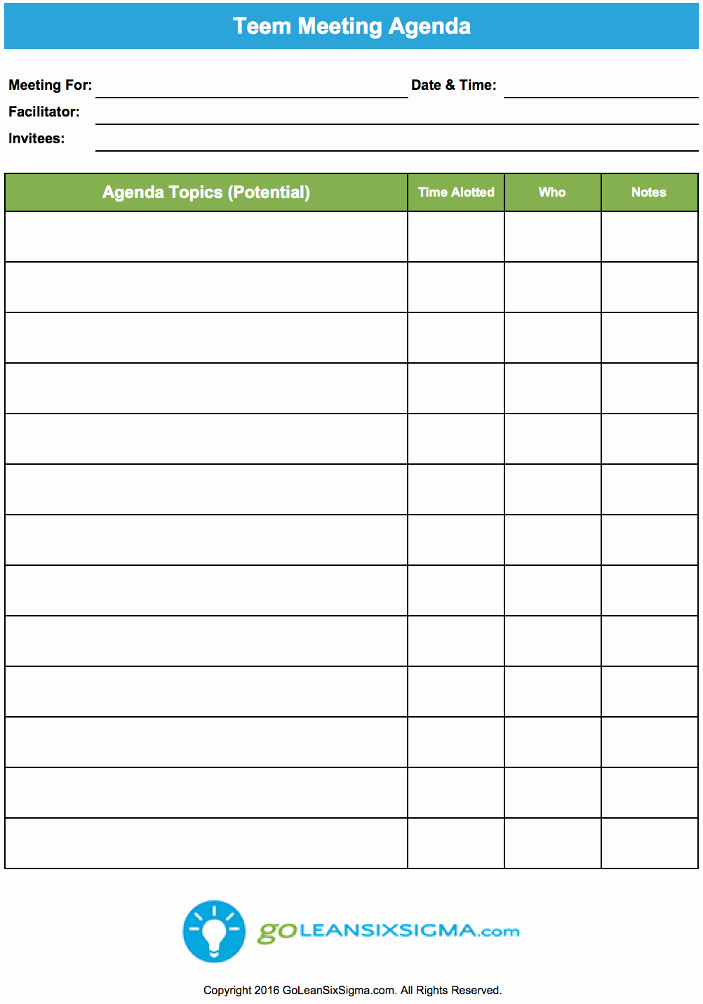 Meeting Agenda with Notes Template Awesome Team Meeting Agenda Goleansixsigma