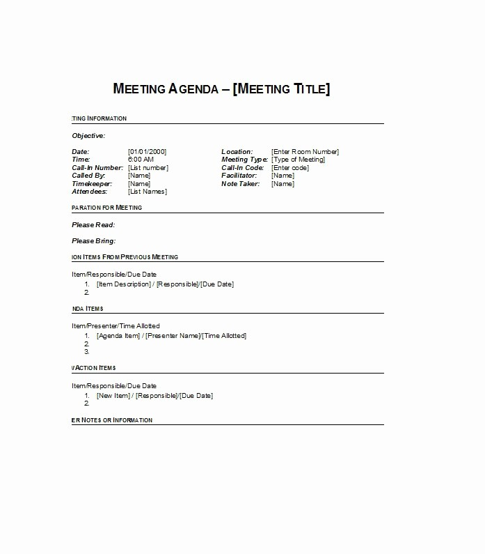 Meeting Agenda with Notes Template Beautiful 46 Effective Meeting Agenda Templates Template Lab