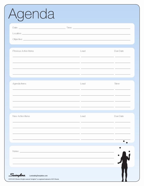 Meeting Agenda with Notes Template Elegant Meeting Agenda Laminating Templates