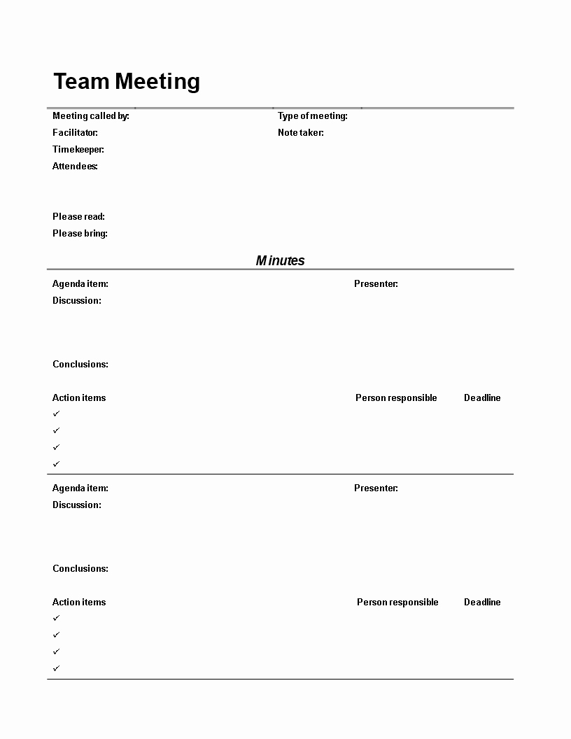 Meeting Agenda with Notes Template Inspirational Free Team Meeting Minutes Template