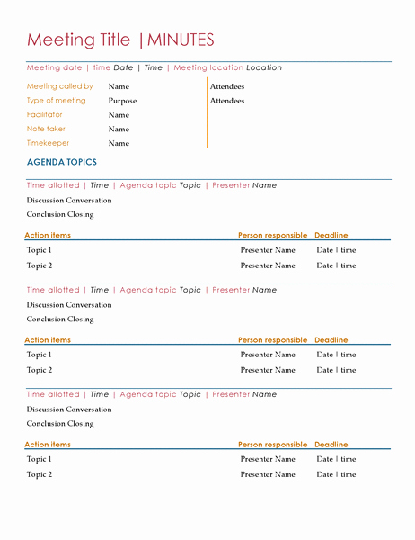 Meeting Agenda with Notes Template Lovely Meeting Minutes