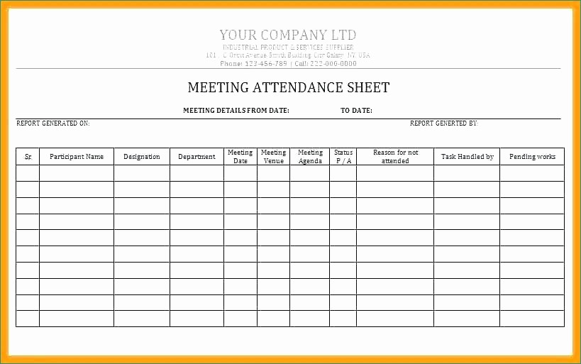 Meeting attendance Sheet Template Excel Awesome Meeting attendance Sheet Template Present Meeting