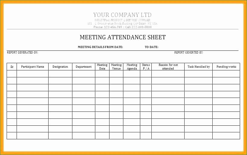 Meeting attendance Sheet Template Excel Awesome Meeting attendance Sheet Template Present Meeting