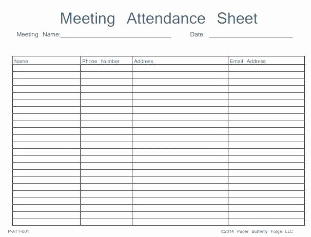 Meeting attendance Sheet Template Excel Elegant Meeting attendance form Template Free List – Rightarrow