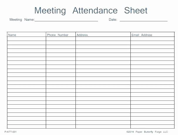 Meeting attendance Sheet Template Excel Elegant Meeting attendance form Template Free List – Rightarrow