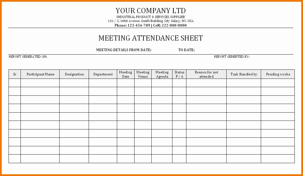 Meeting attendance Sheet Template Excel Inspirational Sample Meeting attendance Sheet Romeondinez