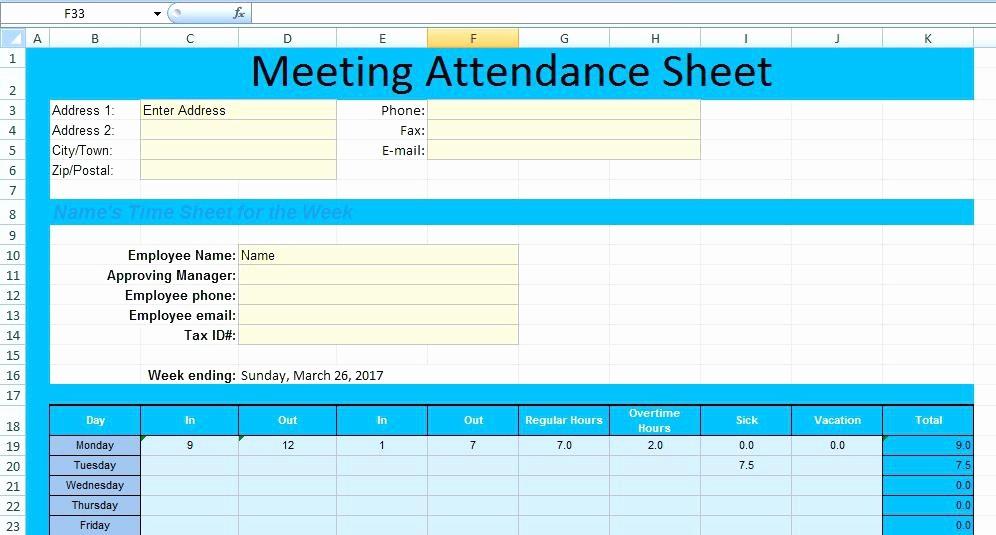 Meeting attendance Sheet Template Excel Lovely Meeting attendance form Template Na Sheet – Rightarrow