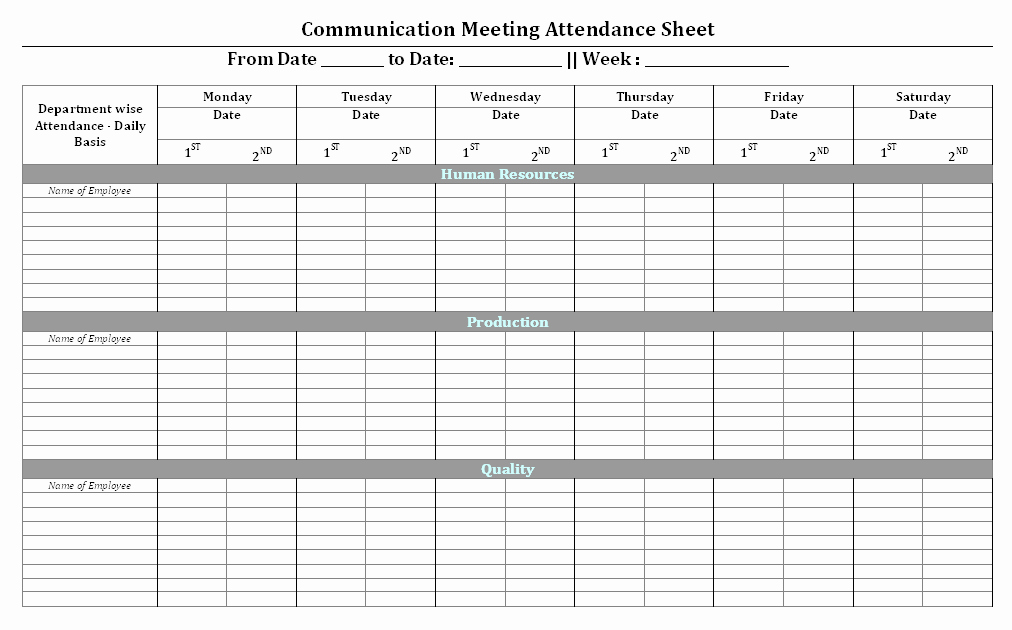 Meeting attendance Sheet Template Excel Lovely Munication Meeting attendance Sheet format