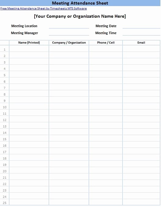 Meeting attendance Sign In Sheet Elegant 6 Free attendance List Templates Excel Pdf formats