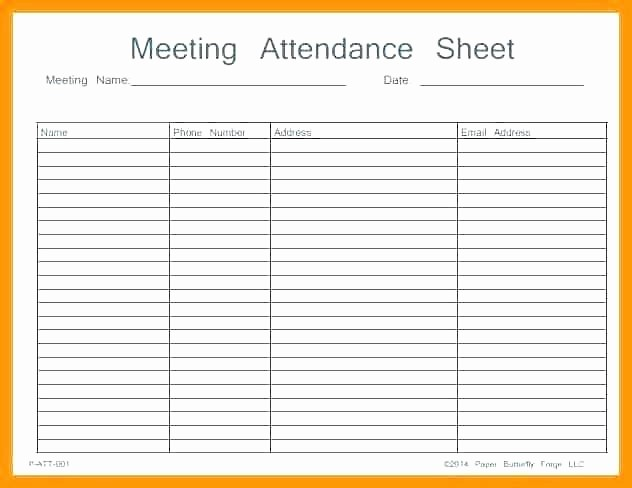 Meeting attendance Sign In Sheet Lovely attendance Template Excel Printable Sheet Work Meeting