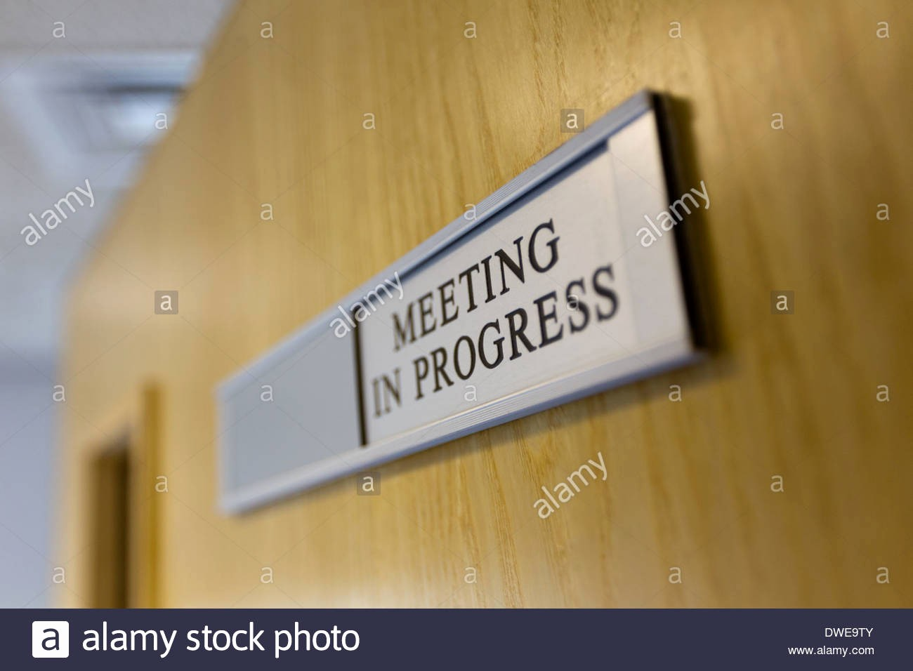 Meeting In Progress Door Signs Inspirational Meeting In Progress Sign On Door Stock Royalty Free