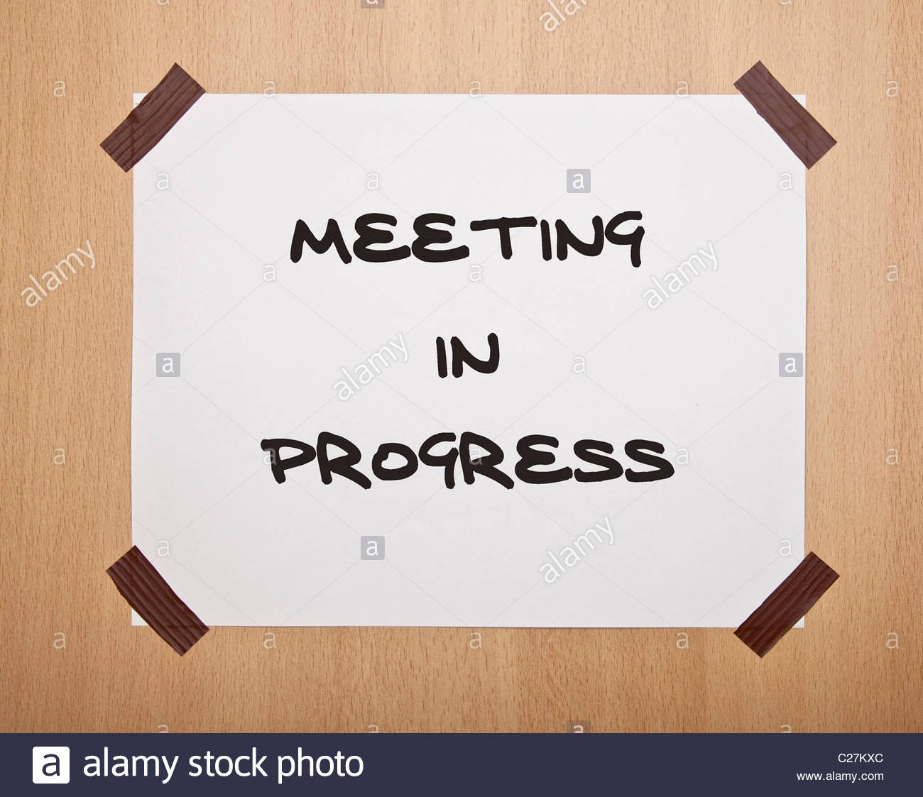 Meeting In Progress Door Signs Unique A Handwritten Sign Saying Meeting In Progress Stock