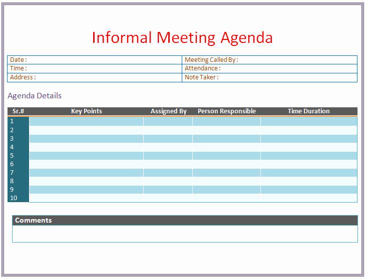 Meeting Minutes Template Microsoft Word Luxury Informal Meeting Agenda Template organize Meetings