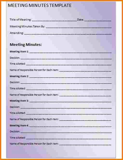 Meeting Minutes Template Microsoft Word New Minutes Of the Meeting Template