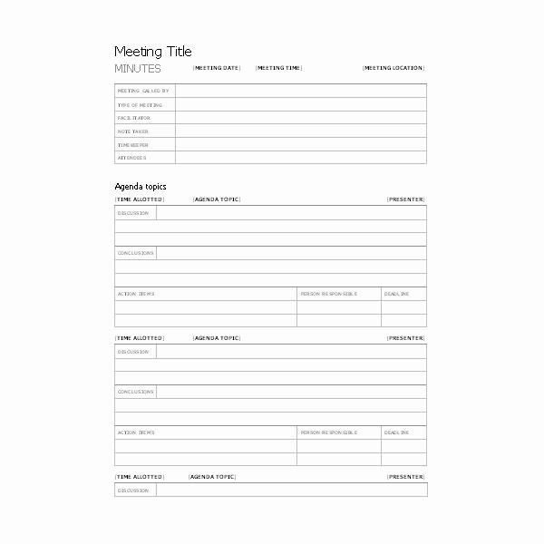 Meeting Minutes Template Microsoft Word Unique Free Templates for Business Meeting Minutes
