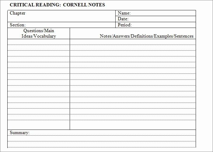 Meeting Notes Template for Word Beautiful Cornell Notes Template 51 Free Word Pdf format