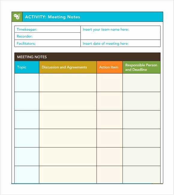 Meeting Notes Template for Word Fresh 7 Free Meeting Minutes Templates Excel Pdf formats