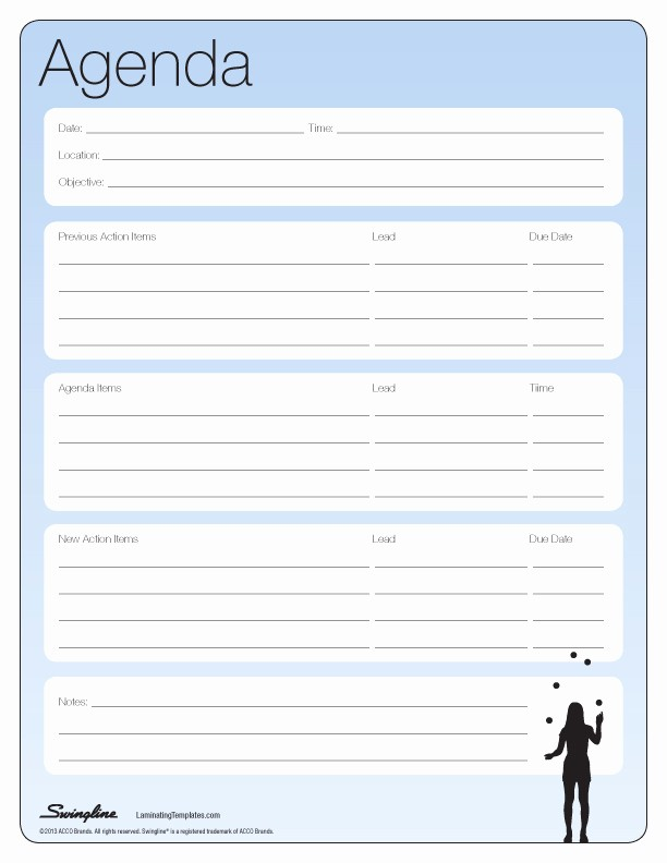 Meeting Notes Template for Word Luxury Editable General Agenda Template Example with Tables and
