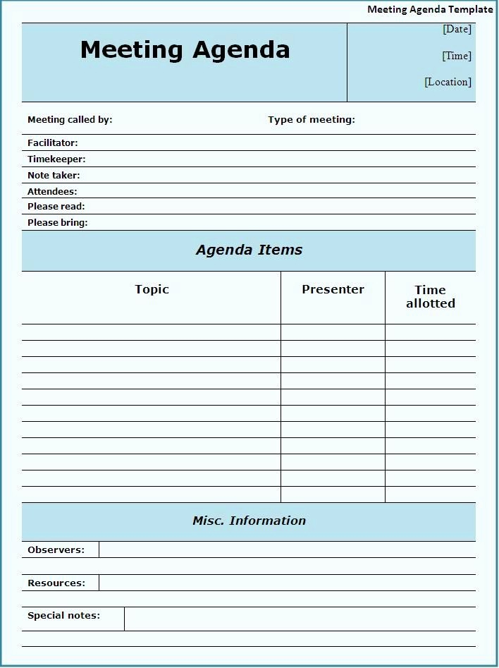 Meeting Notes Template for Word Luxury Meeting Agendas Templates