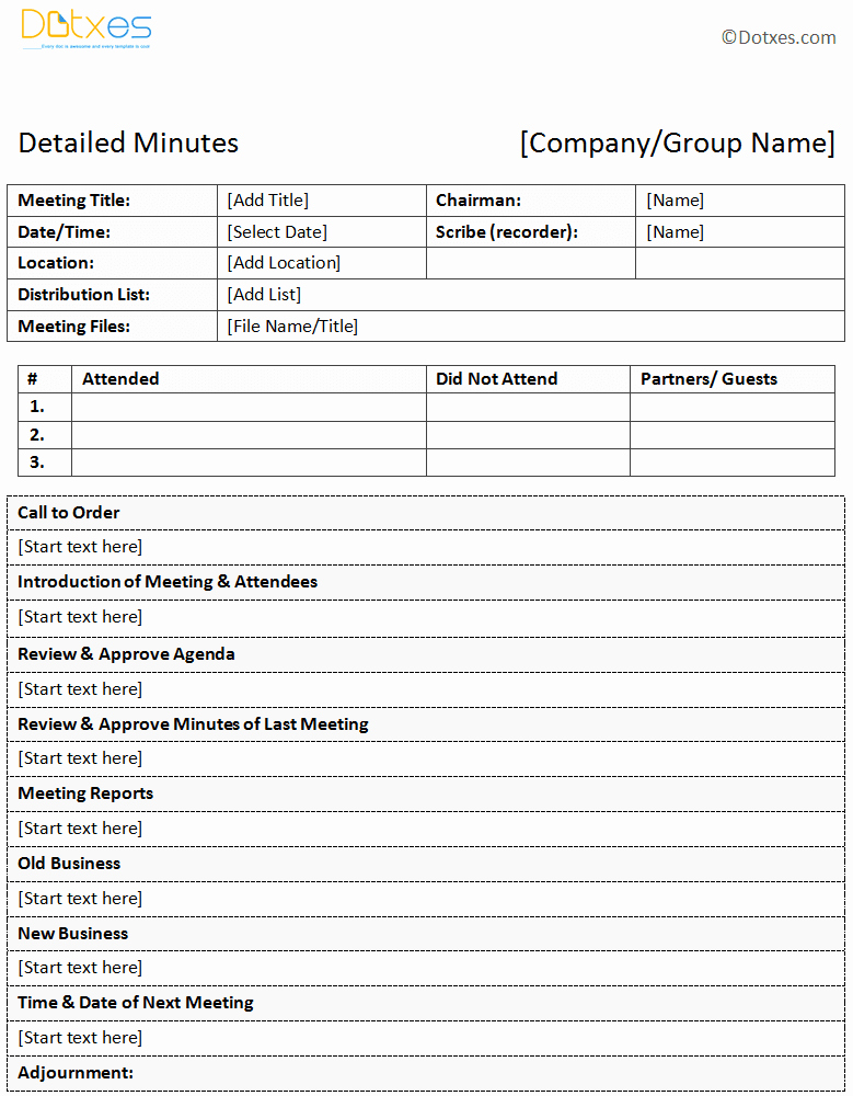 Meeting Notes Template for Word Luxury Meeting Minutes Template
