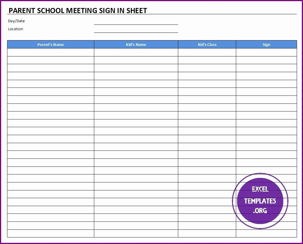 Meeting Sign In Sheet Excel Awesome Parent School Meeting Sign In Sheet Template