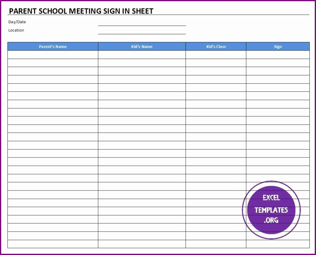 Meeting Sign In Sheet Excel Best Of Parent School Meeting Sign In Sheet Template
