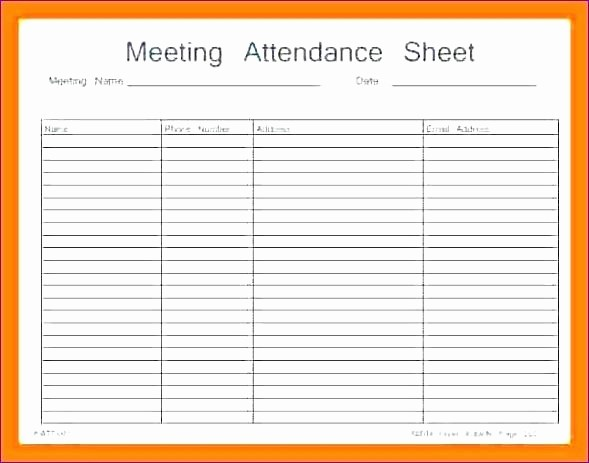 Meeting Sign In Sheet Excel Elegant It Meeting attendance Sheet Template Microsoft Word