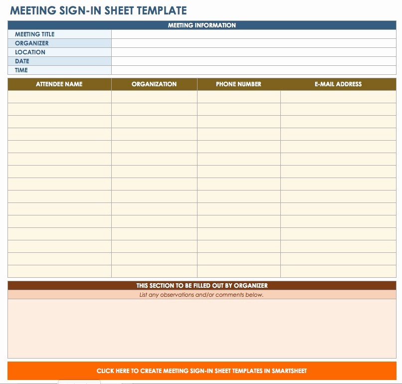 Meeting Sign In Sheet Excel Lovely Free Sign In and Sign Up Sheet Templates