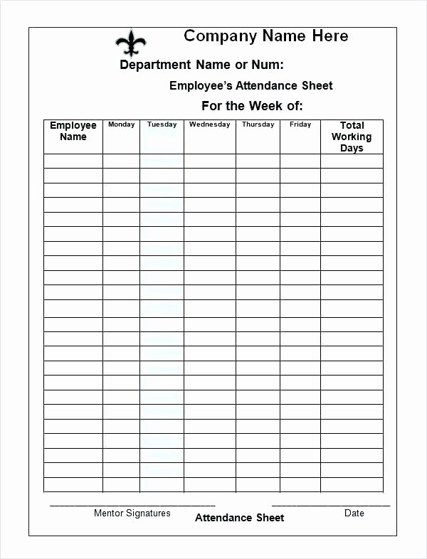 Meeting Sign In Sheet Excel Luxury It Meeting attendance Template Record Efficient Sign In