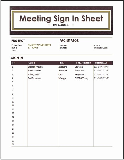 Meeting Sign In Sheet Excel Luxury Visitors Inquiry form Templates for Word