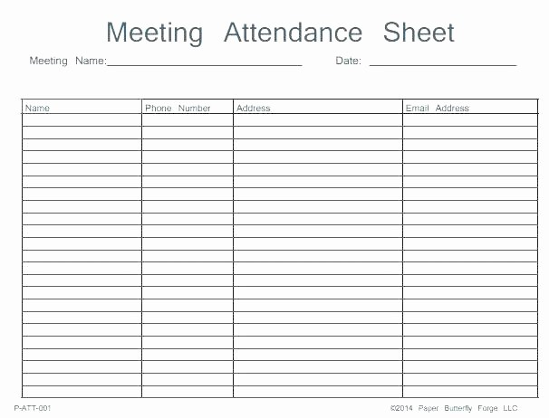 Meeting Sign In Sheet Excel New Meeting attendance form Template Free List Sheet Calendar