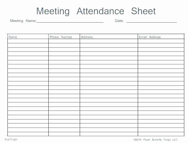 Meeting Sign In Sheet Excel New Meeting attendance form Template Free List Sheet Calendar