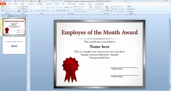Member Of the Month Certificate Awesome Free Employee Templates for Powerpoint Presentations