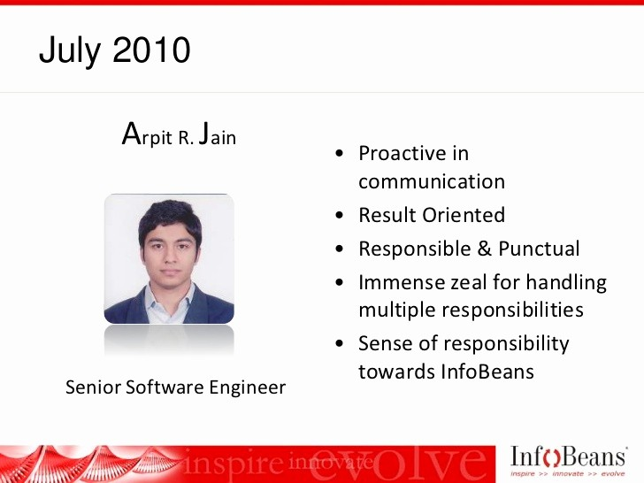 Member Of the Month Certificate Awesome Infobeans Team Member the Month Award Roster