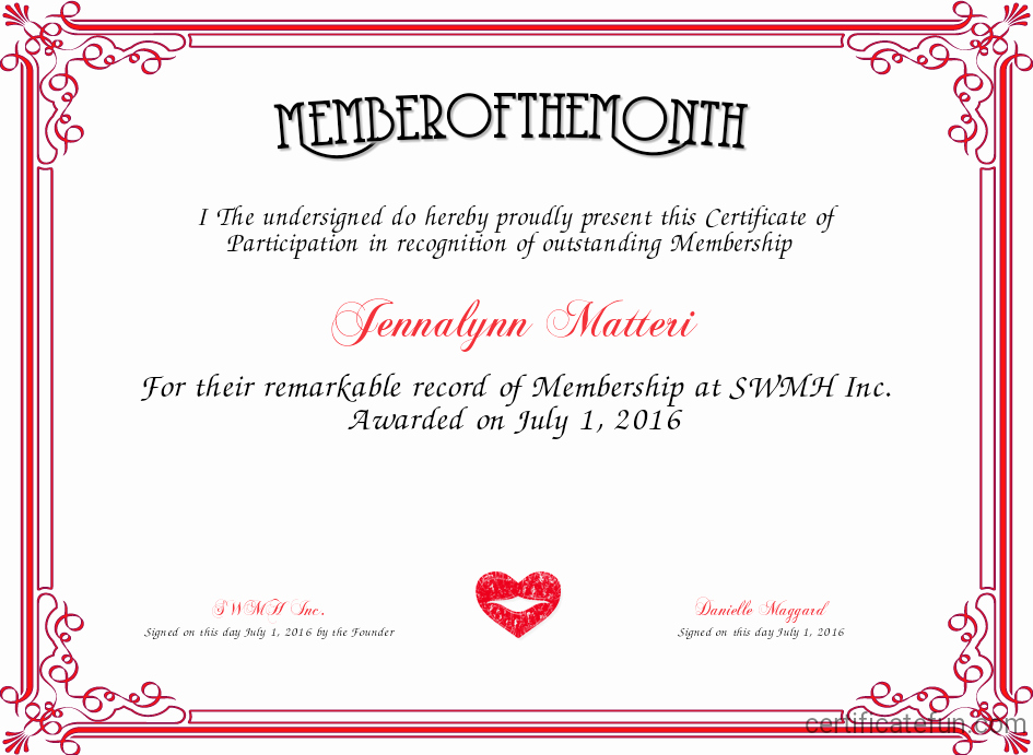 Member Of the Month Certificate Awesome Member Of the Month Certificate